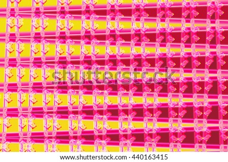 Hot pink yellow intricate triangle vertical design pattern unique background backdrop bold vivid colorful  - stock photo