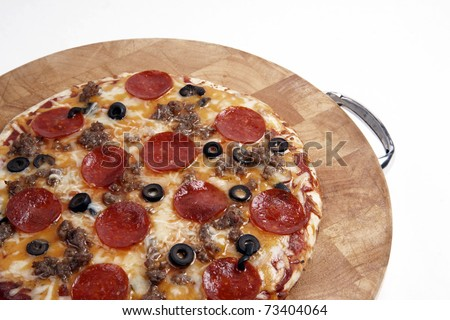 Hot Pizza Pie Meat Supreme Fast Food Wood Cutting Board Italian Style - stock photo