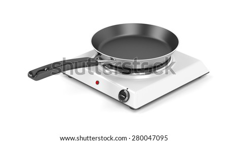 Hot plate and frying pan on white background - stock photo