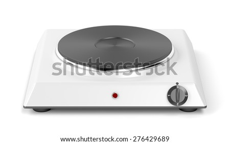 Hot plate on white background - stock photo