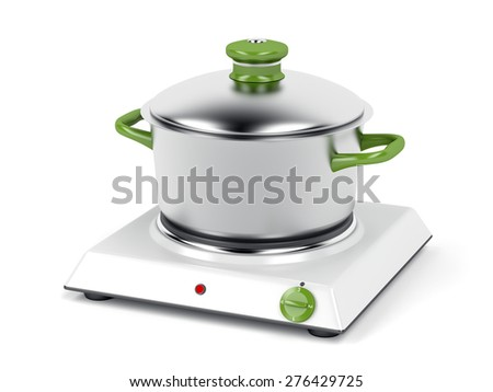 Hot plate with cooking pot on white background - stock photo