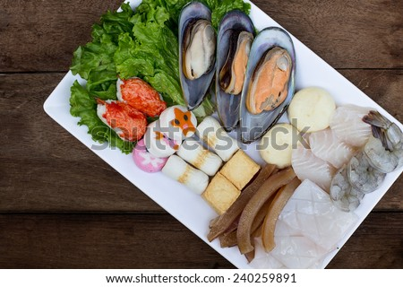 Hot pot ingredients - Oysters and Seafood - Selective focus point - stock photo