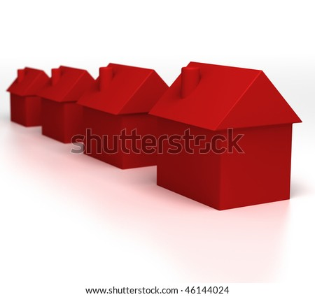 Hot Properties (Red Houses) - stock photo