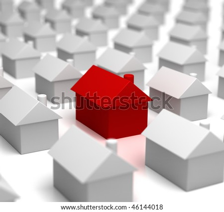 Hot Property amongst others (red house amongst the grey) - stock photo