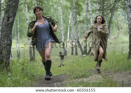 Hot pursuit from fascist soldier - stock photo