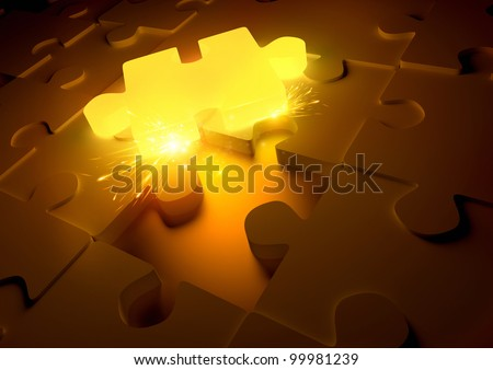Hot Puzzle Concept. A molten puzzle piece giving of sparks - stock photo