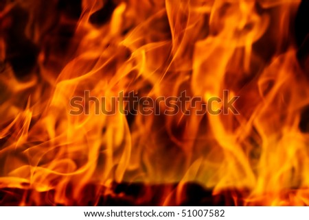 Hot red and yellow fire flames