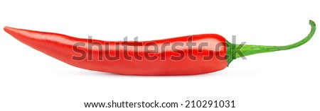 Hot red chili or chilli pepper isolated on white background - stock photo