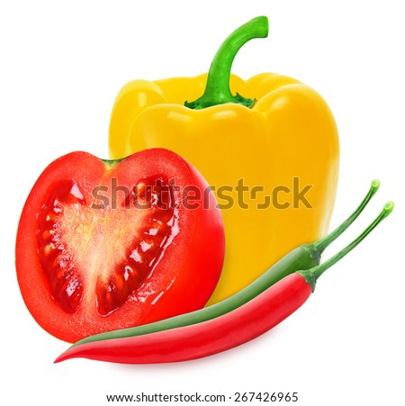 Hot red chilli, yellow paprika and red tomato isolated on a white background - stock photo