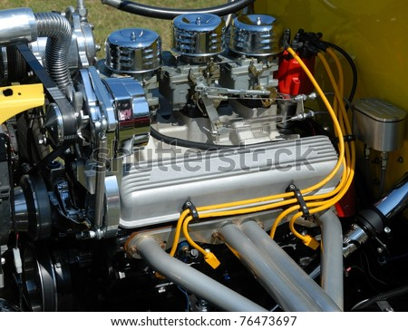 hot rod car engine at car show st augustine florida usa