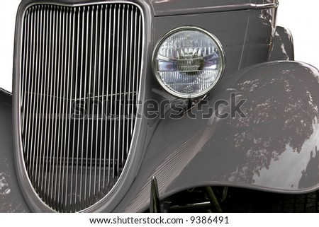 Hot rod grille, fenders and headlamp