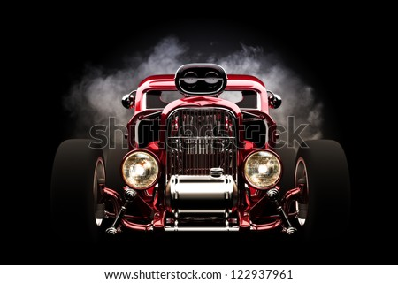 Hot rod with smoke background, 3d model - stock photo