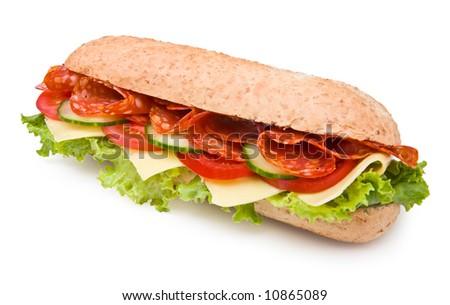 Hot salami sandwich with lettuce, tomatoes and cucumbers on white, clipping path - stock photo