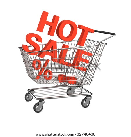 Hot sale shopping cart. Isolated on the white background - stock photo