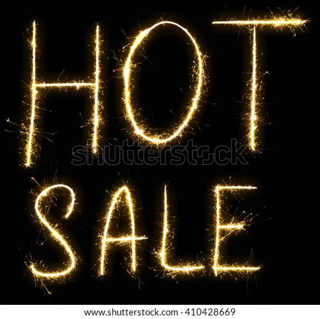 Hot Sale text made of sparkler. Isolated on a black background