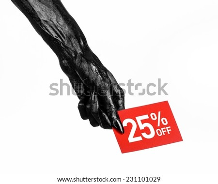 Hot sale topic: black hand holding a red card with 25 % discount on white background