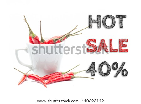 Hot Sale 40% words written on white background with cup of chillies - stock photo