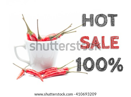 Hot Sale 100% words written on white background with cup of chillies - stock photo