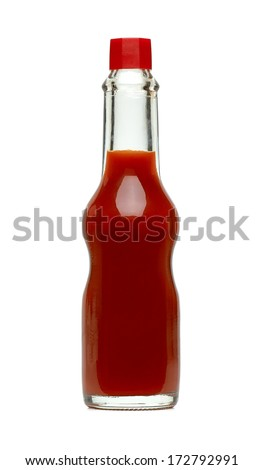 Hot sauce in bottle with clipping path - stock photo