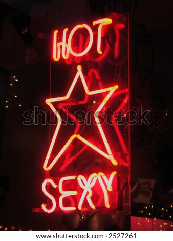 Hot, Sexy neon sign - stock photo