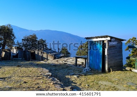 Hot showers in the Himalayan mountains, Nepal - stock photo
