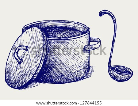 Hot soup. Doodle style. Raster version - stock photo