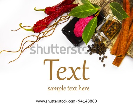 Hot spices (pepper, horseradish, bay leaf) With sample text - stock photo