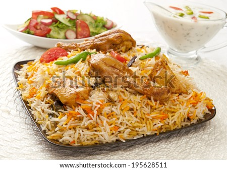 Hot & Spicy Chicken Biryani, A most famous food of Pakistani & Indian peoples - stock photo
