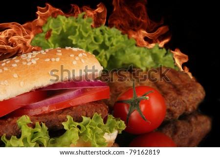 Hot spicy hamburger - stock photo