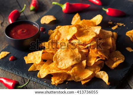 Hot Spicy Sriracha Potato Chips Ready to Eat - stock photo