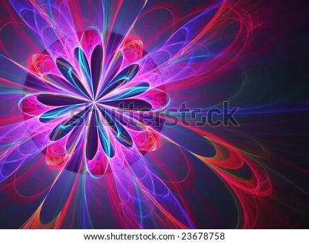 Hot Spring Burst - fractal design - stock photo