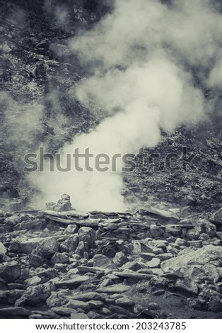 Hot spring in Indonesian vulcano aerea, artistic processed photo - stock photo