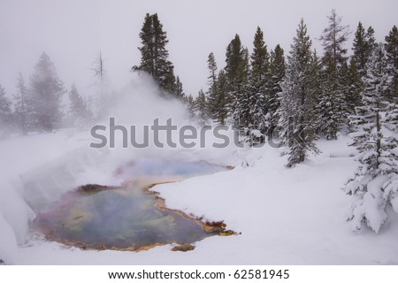 hot spring in snow field, yellowstone national park - stock photo