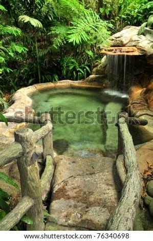 Hot springs pool in Costa Rica - stock photo