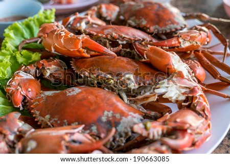 Hot steamed red crab prepare to eat on a plate - stock photo