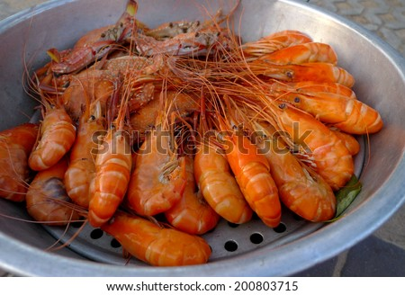 hot steamed seafood on food stall in Thailand - stock photo