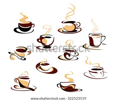 Hot steaming coffee cups set for fast food, cafe or restaurant menu design - stock photo