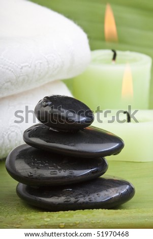 hot stone treatment (2) - stock photo
