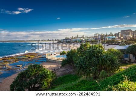 Hot sunny day at sandy Kings Beach Calundra, Queensland, Australia - stock photo