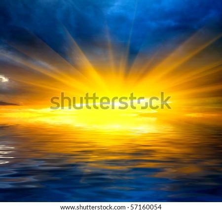 hot sunshine over water - stock photo