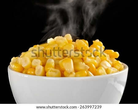 Hot sweet corn, close up - stock photo