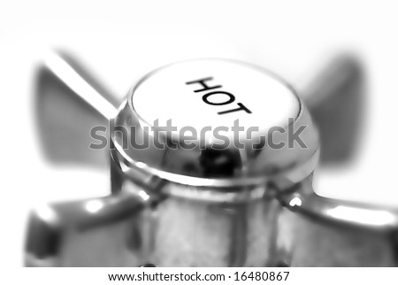 hot tap detail; isolated on white ground; differential focus - stock photo