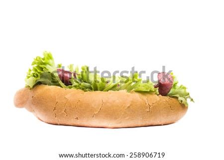 hot tasty bun with sausage - stock photo