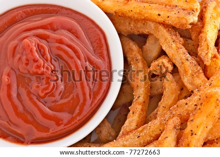 hot tasty fries and ketchup - stock photo