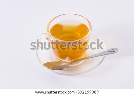 Hot tea on a white background.