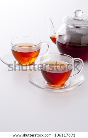 hot tea on white background - stock photo