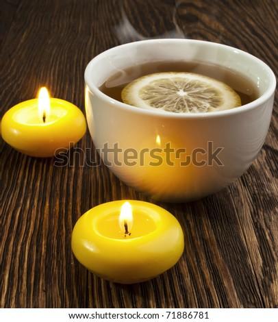 hot tea with lemon and evaporation - stock photo