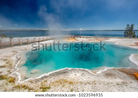 Hot thermal spring Black Pool in Yellowstone National Park, West Thumb Geyser Basin area, Wyoming, USA