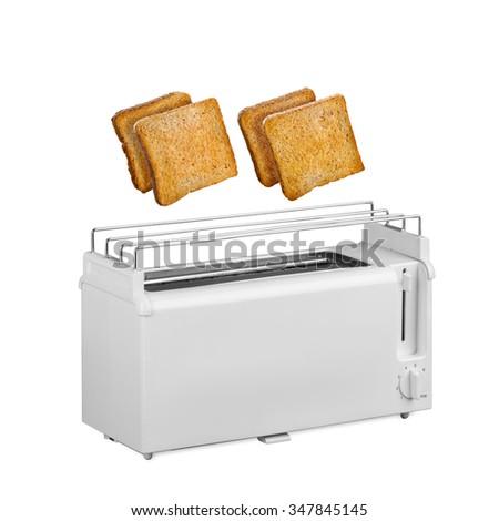 Hot toast fly white toaster isolated - stock photo