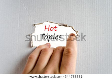 Hot topics text concept isolated over white background - stock photo